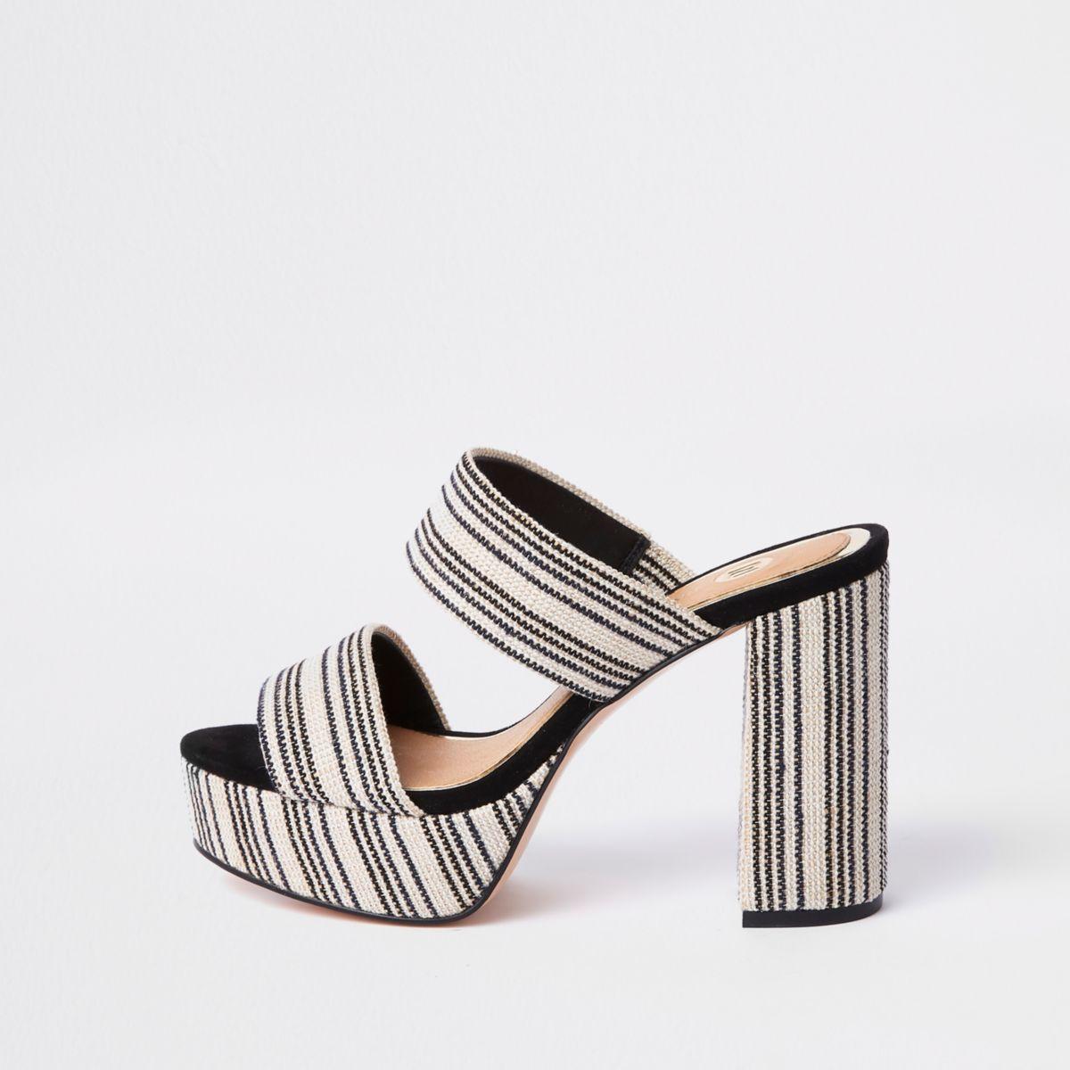 2cbc0f967f White stripe block heel platform sandals | My Summer Lovin ...
