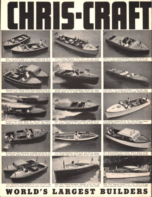 1939 Chris-Craft boat print ad 2 pages Many Models cruiser sportsman