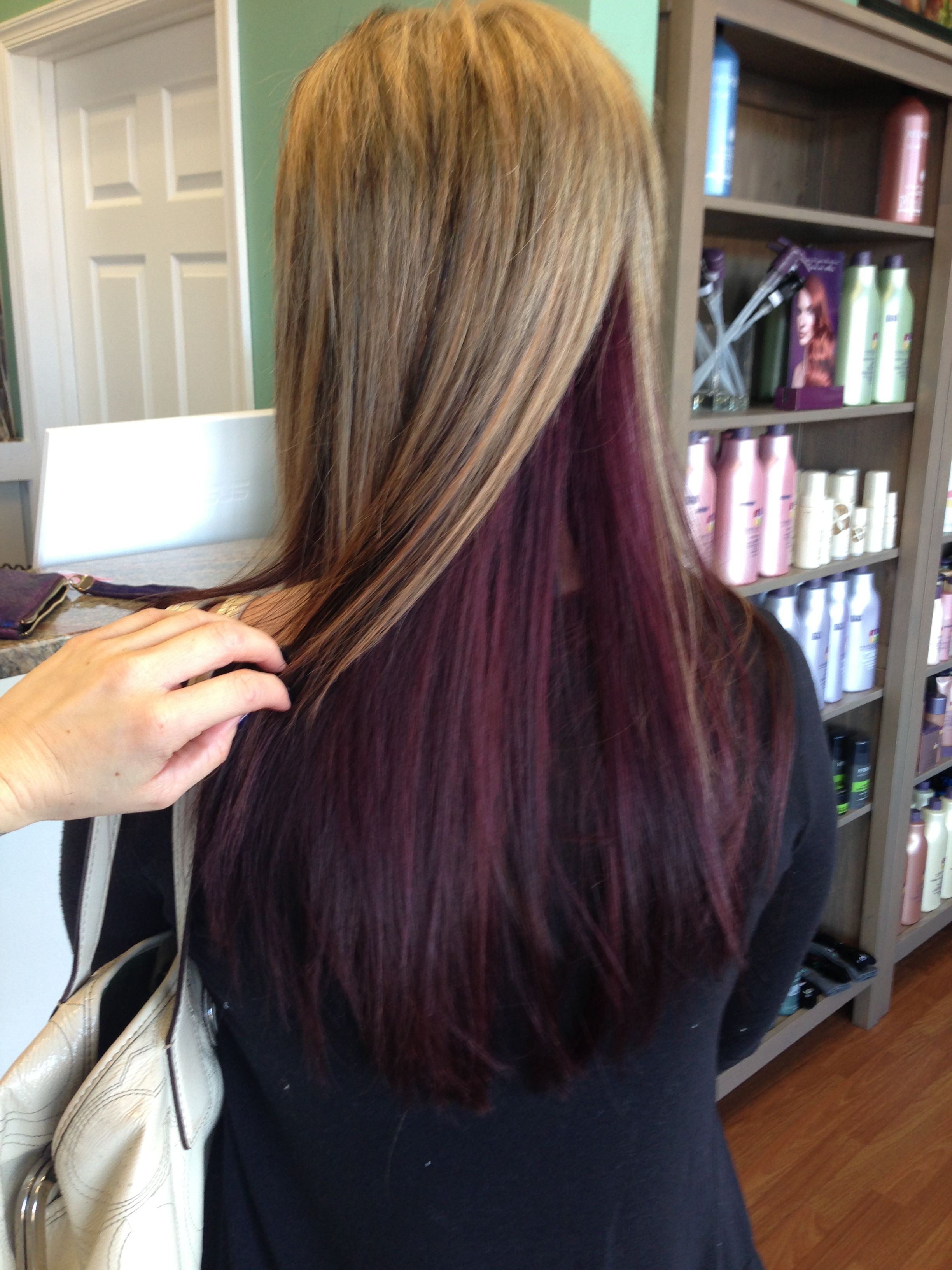 Purple Color Under Blonde Red Hair Underneath Under Hair Color Underlights Hair