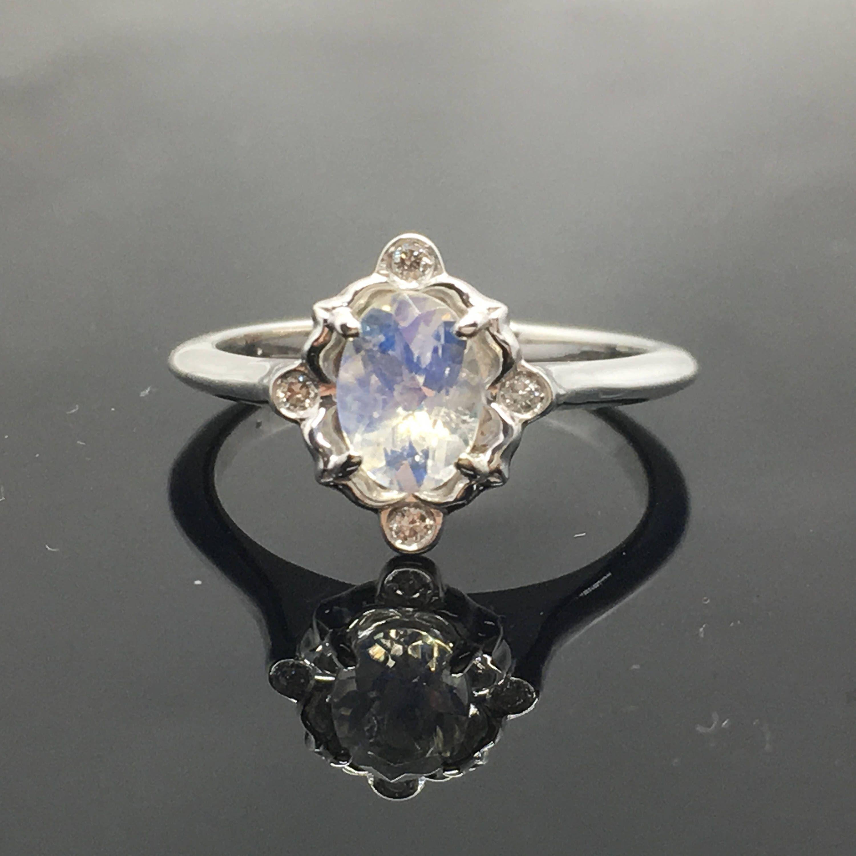 Moonstone engagement ring k white gold victorian moonstone