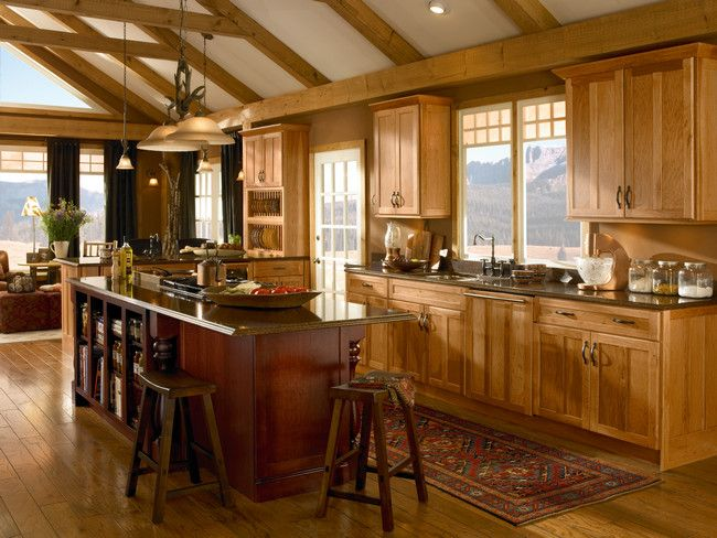 The Warm Tones Of Hickory Cabinets In Honey Spice Are