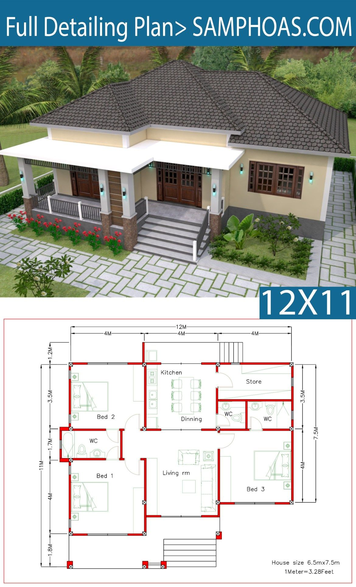 Interior Design Plan 12x11m With Full Plan 3beds Samphoas Plansearch Simple House Design Model House Plan Bungalow House Plans