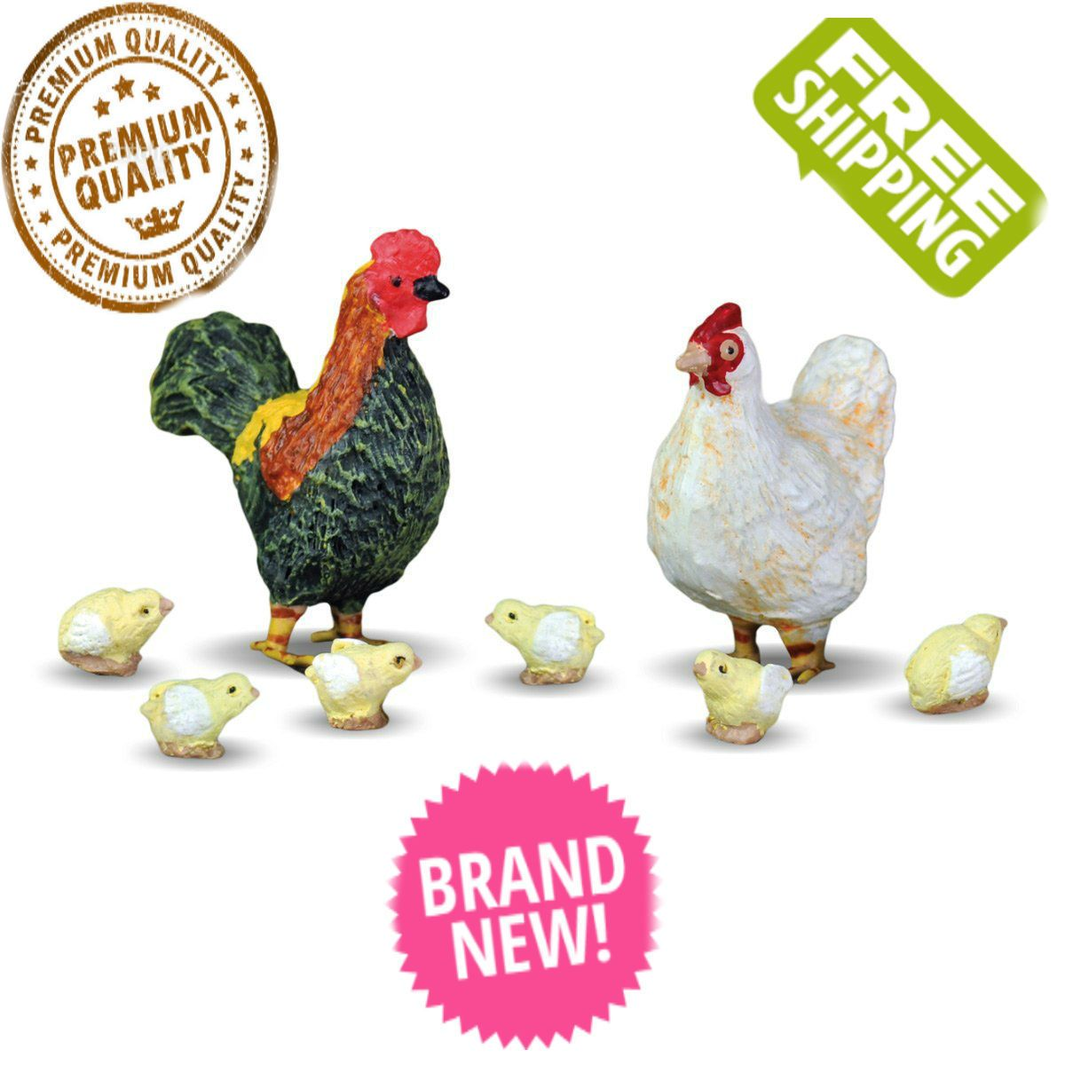 5 pc set country hen with chicks
