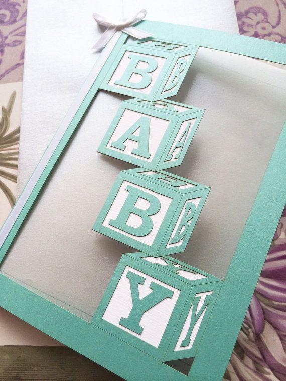 Baby Shower Invitation, Lasercut Baby Blocks, Custom Personalized
