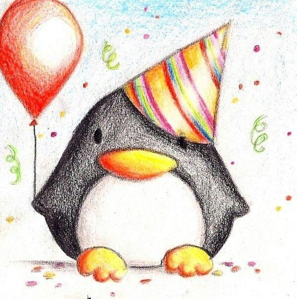 Простой рисунок для открытки на день рождения, рыбой днем