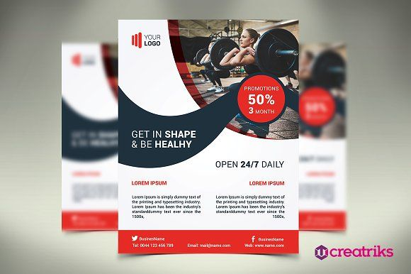 Fitness Flyer \/ Gym Flyer by Creatricks on @creativemarket - fitness flyer template