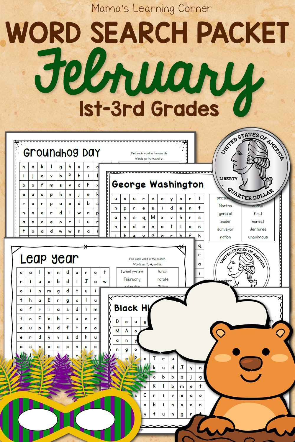February Word Search Packet Word Seach Winter Activities Preschool Groundhog Day [ 1500 x 1000 Pixel ]