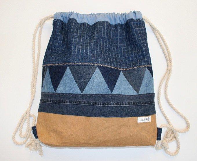 rucksack aus jeansresten ideen pinterest rucks cke n hen und turnbeutel. Black Bedroom Furniture Sets. Home Design Ideas