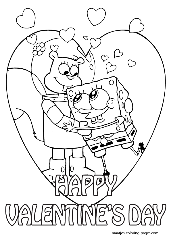 Superb Kids Valentine Coloring Pages 80 Spongebob Valentine Coloring Pages