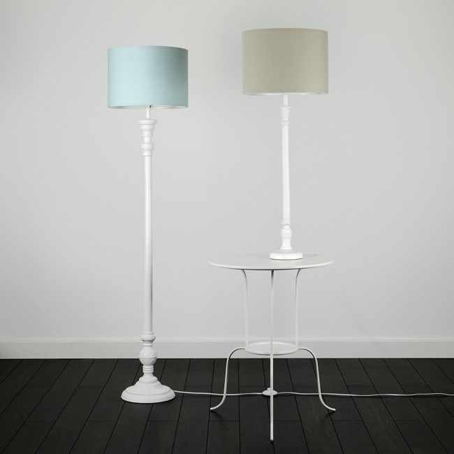 vintage large shabby chic wooden table lamp in distressed white