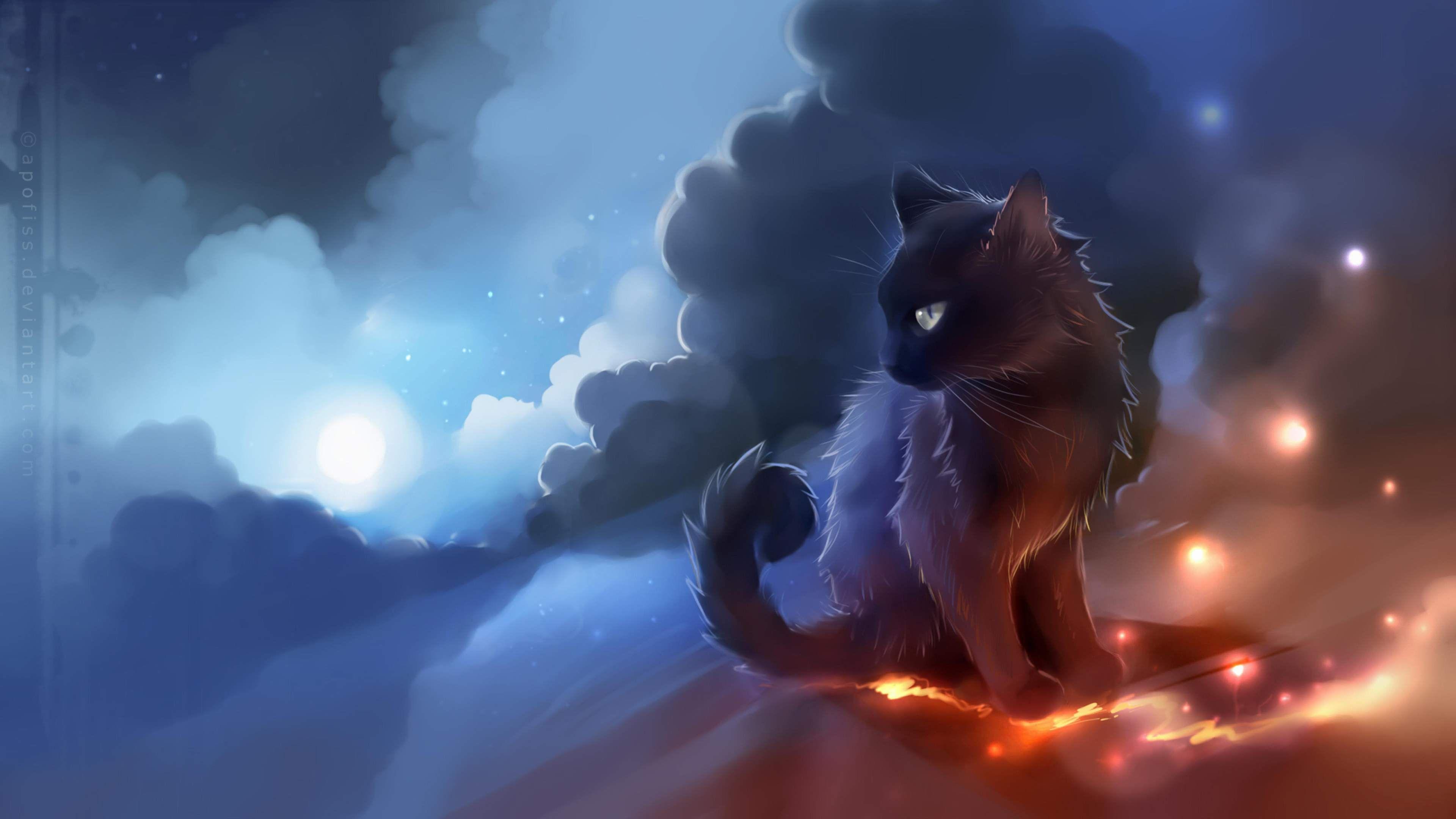 The Black Cat Art Painting 4k Wallpaper Warrior Cat Names