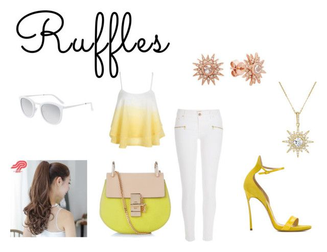 """""""Ruffled Top"""" by mayraflores534 ❤ liked on Polyvore featuring River Island, Casadei, Pin Show, Chloé, BERRICLE, Kenza Lee, Smoke & Mirrors and ruffles"""