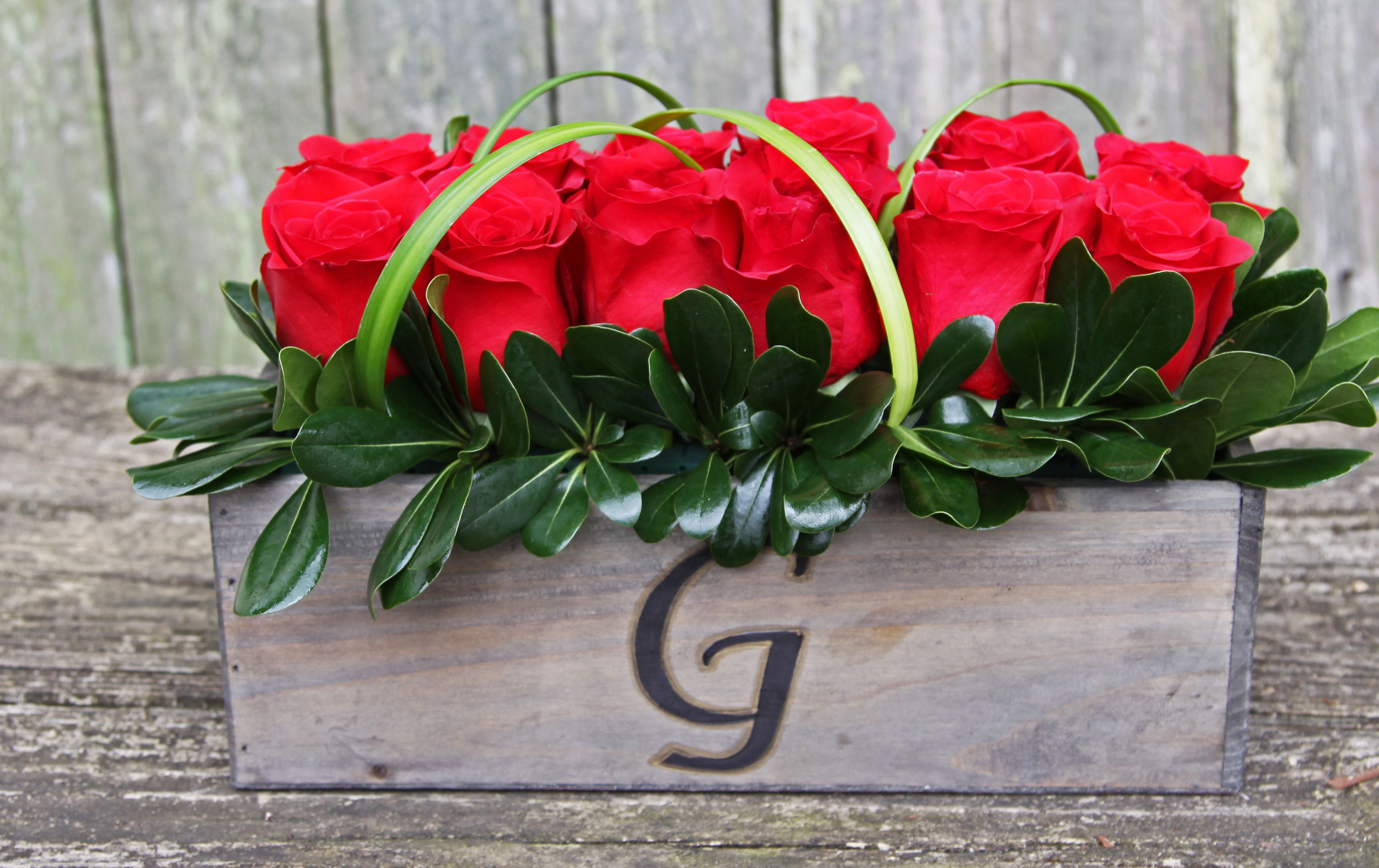 Monogrammed Crate Wth A Dozen Roses Only At Spring Hill Florist