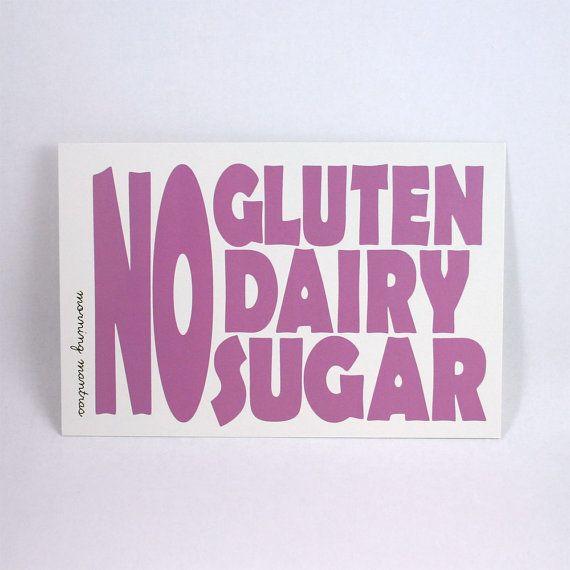 Resolution No Gluten No Dairy No Sugar 4x6 Art Postcard A By Morningmantras 3 00 Sin Gluten