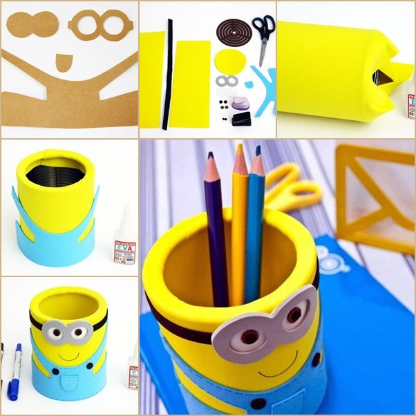 diy eva minion pencil organizer from can diy de rentr e scolaire pinterest. Black Bedroom Furniture Sets. Home Design Ideas