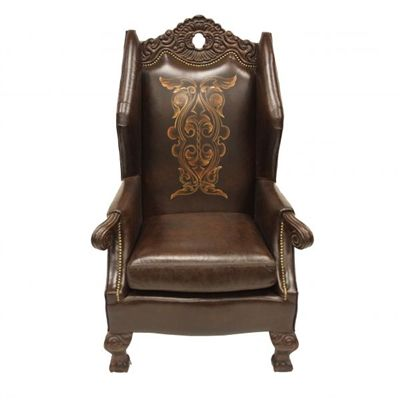 Mirabelle Hand Painted Leather Old World Accent Chair