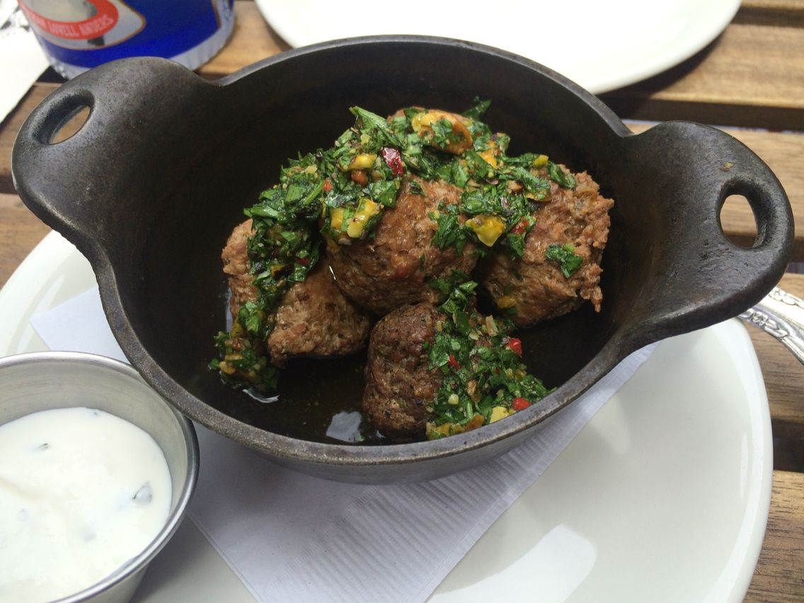 Lamb meatballs with pistachio chimichuri and yogurt. Found Kitchen, Evanston