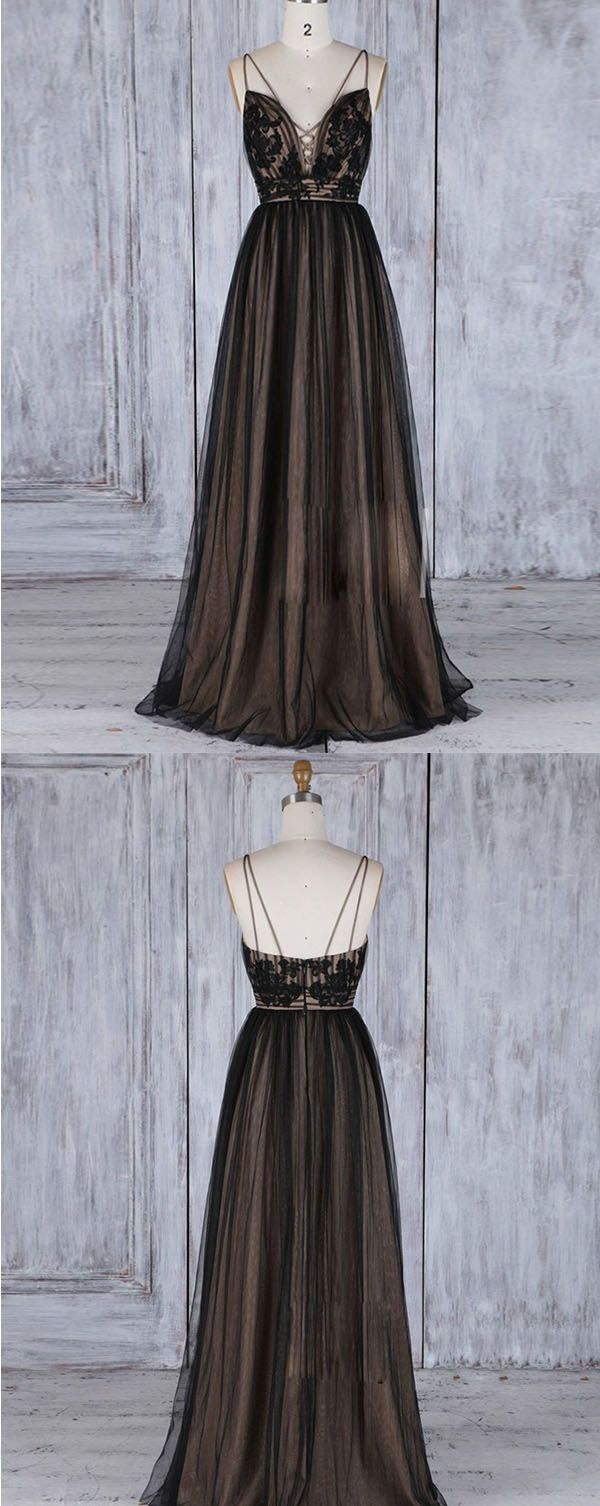 Deep vneck black backless tulle prom dress with appliques long