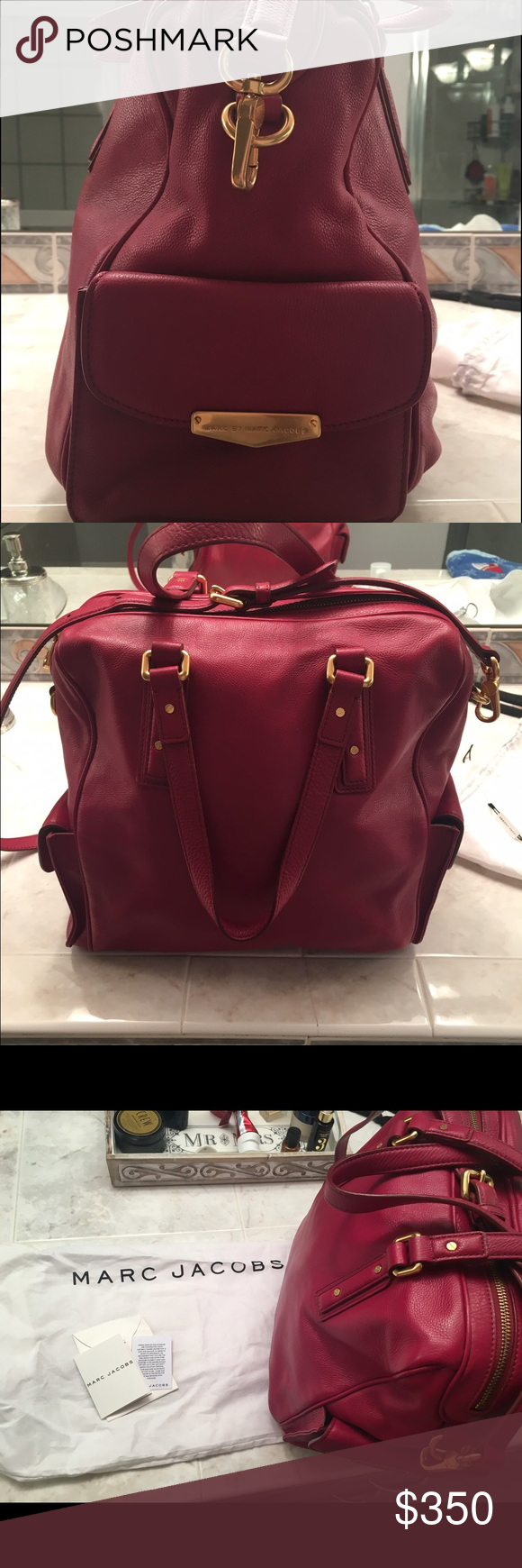 Marc Jacobs purse Beautiful red leather with gold detailing, used 1 time, practically new. Super clean. Adjustable shoulder strap or carry handles. Lots of pockets. Marc by Marc Jacobs Bags Shoulder Bags
