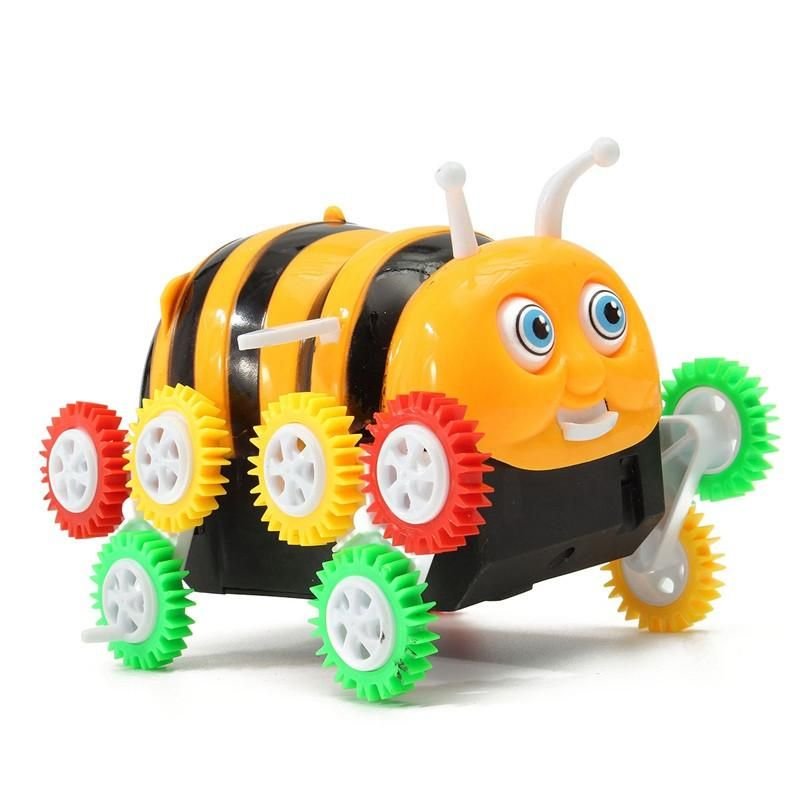 Cute Funny Colorful Electric Cartoon Bee Bucket Stunt Car Automatic Flip Electic12 wheels Bee Dumpers Infant Toys Gift For kids