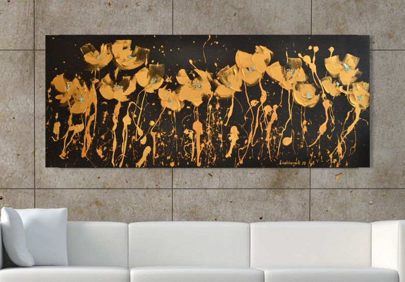Art Black And Gold Leaf Abstract Canvas Painting Gold Black Extra Large Minimal Art Black Gold Leaf Painting Gothic Decoration