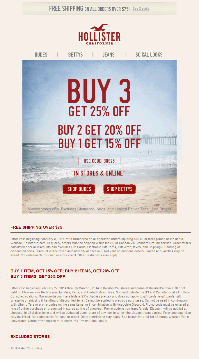 Coupon Codes for all! Check these out and more at  www.hollisterpromocodes.biz