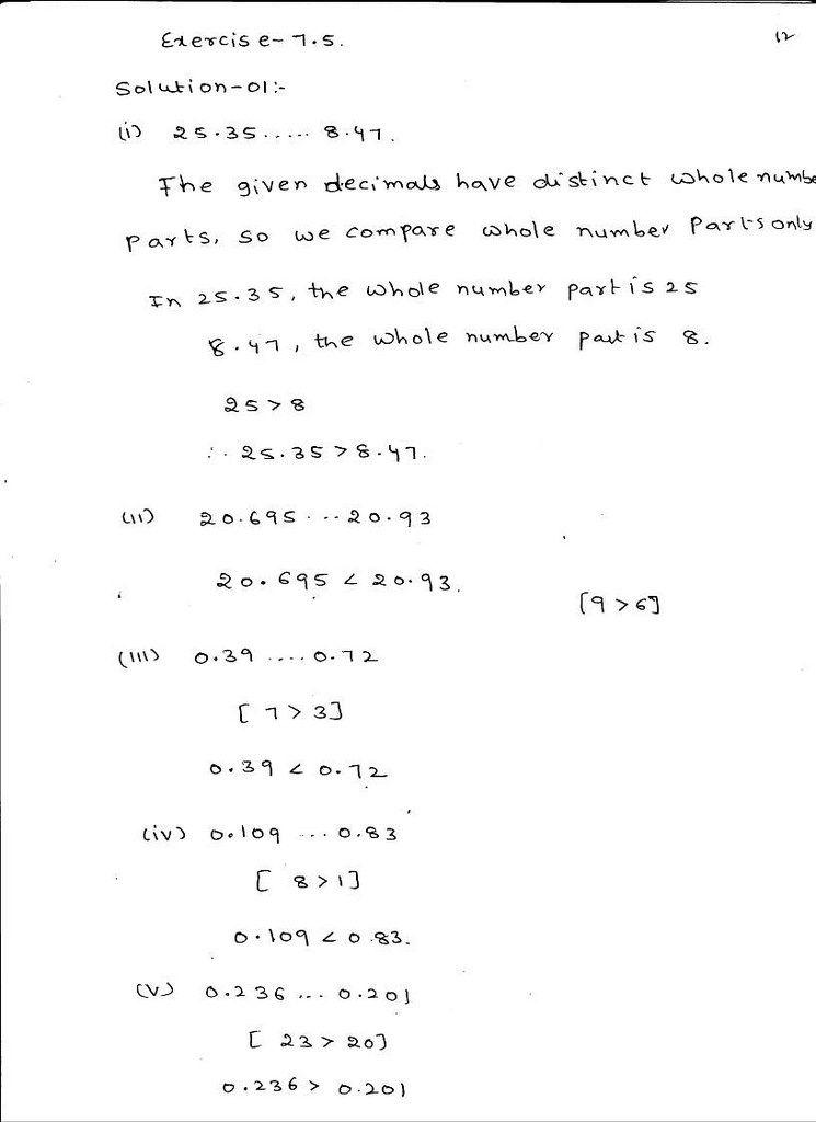 Rd Sharma Class 6 Solutions Maths Chapter 7 Decimals Exercise 7 5 Class 6 Math Solutions Decimals worksheets for grade cbse