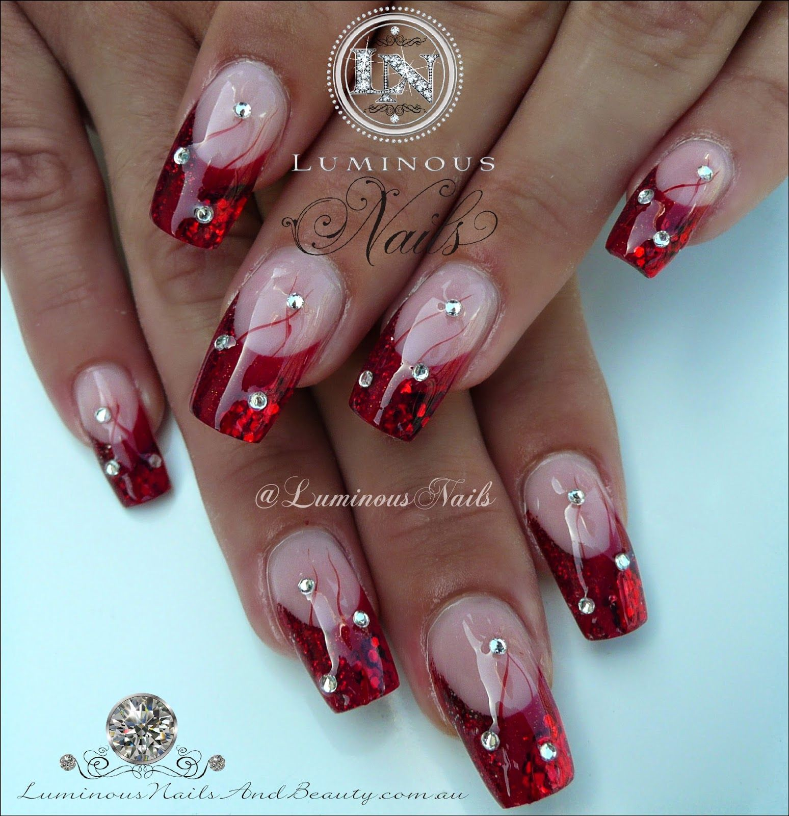 Luminous Nails: Scarlet Red Acrylic Glitter Nails | nails ...