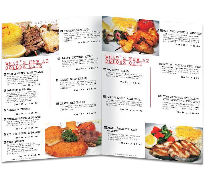colors cafe restaurant menu design pricelist and food catalogue - Restaurant Menu Design Ideas