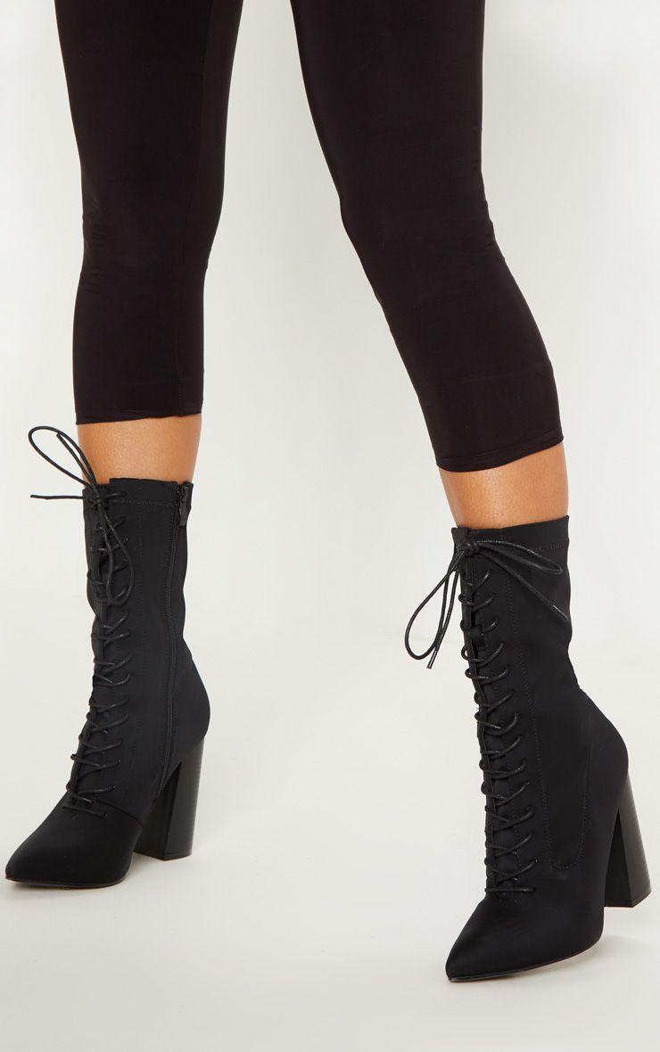 Black Block Heel Lace Up Lycra Sock