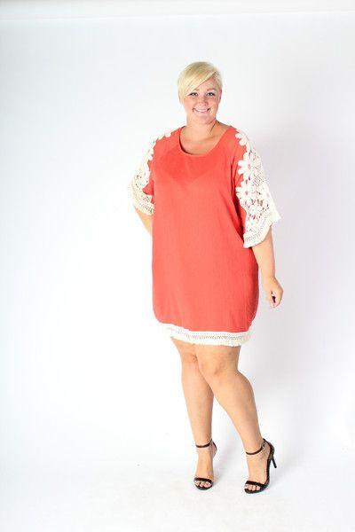 Plus Size Clothing For Women Crochet Shift Dress Coral Sizes 14