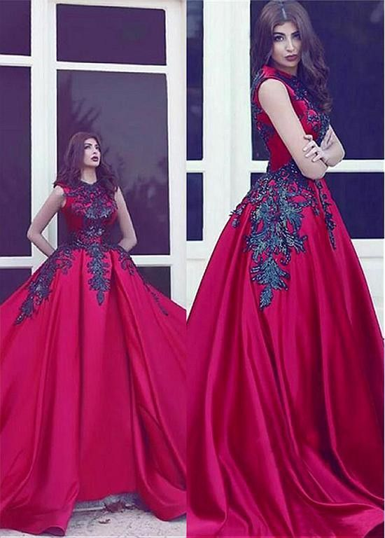Black And Red Gothic Wedding Dresses 2017 Sleevelesss Lace Appliques ...