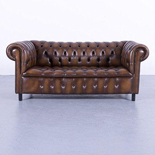 Chesterfield Leder Sofa Braun Dreisitzer Couch Echtleder Vintage