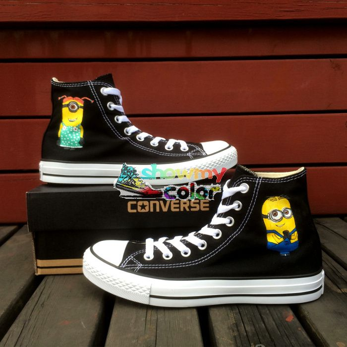 converse shoes high tops boys. black converse minions hand painted cartoon shoes for boys girls high top canvas sneaker tops