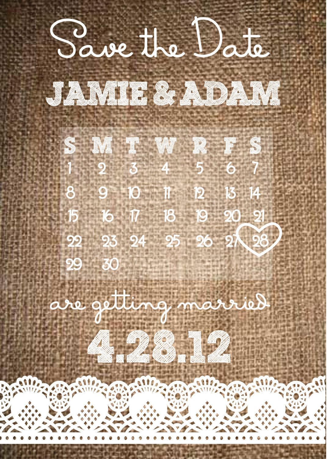 Rustic Burlap Save The Date Burlap And Lace Wedding Invitation - Rustic save the date templates