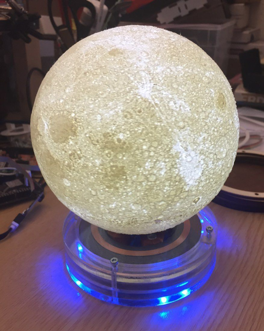 Reposting Hacksterio Celebrate Moon Mission With This Moon Lamp Visit Soch3d Com To 3d Print Your Models And Get Instant Quotes Levitation Moon Missions Iot