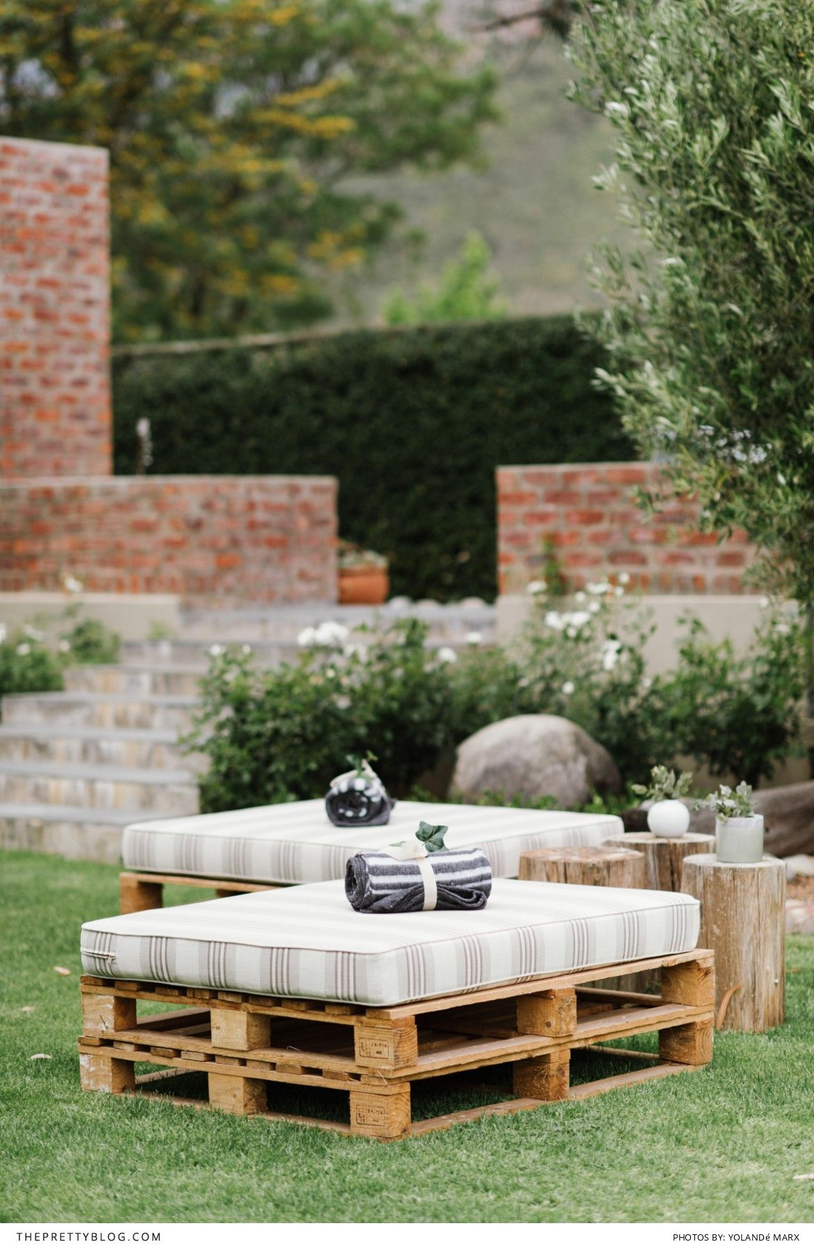 Outdoor Seating For Reception With A Rolled Up Blanket | Photography:  Yolandé Marx | Styling