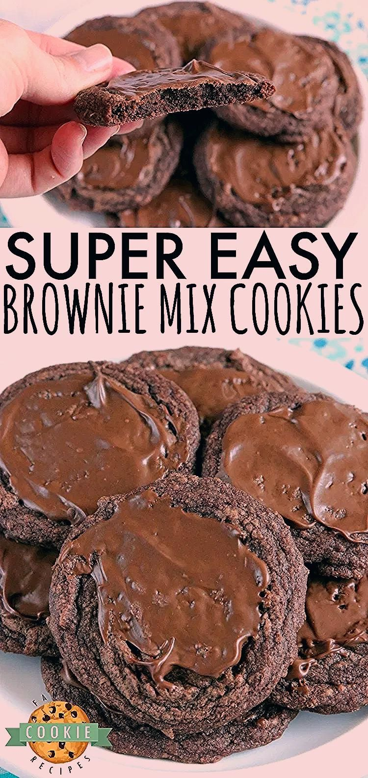 Easy Brownie Cookies are easily made with a brownie mix, butter and an egg and then frosted with a