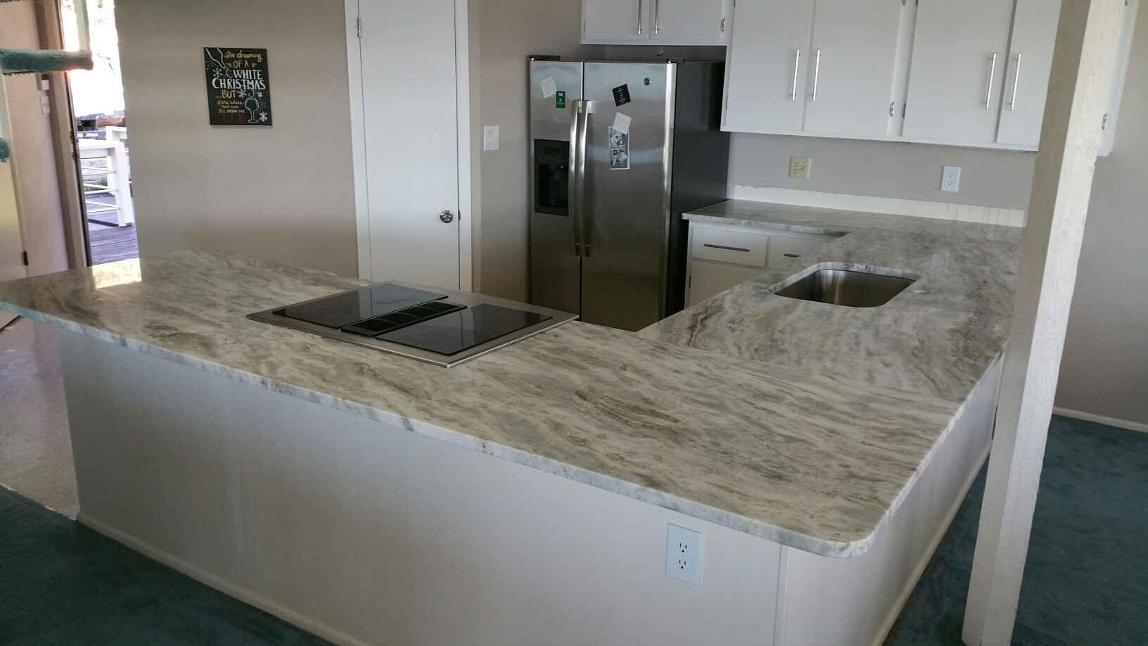 Countertops are fantasy brown granite the backsplash is marble - Sequoia Or Fantasy Brown Granite Lake House White Cabinets White Granite Home