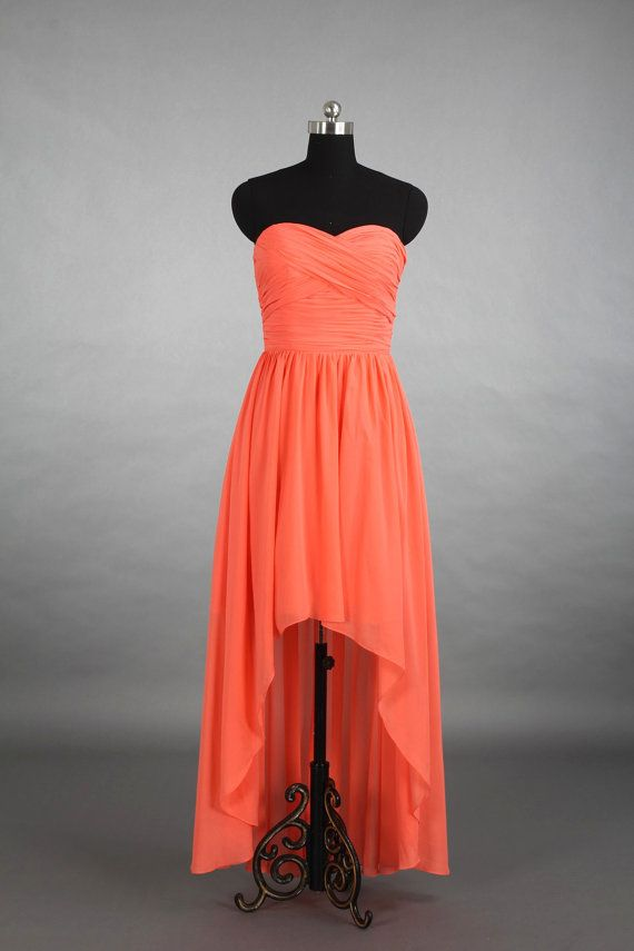 2107e37cce Coral High-Low Sweetheart Bridesmaid Dress by harsuccthing on Etsy ...