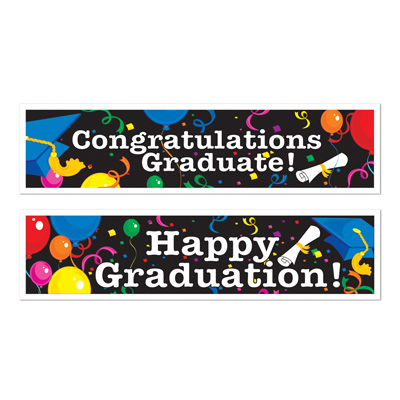 matching just about any color scheme these graduation banners are a