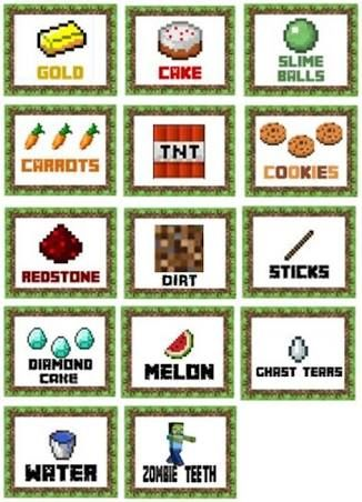 It's just an image of Sly Free Printable Minecraft Food Labels