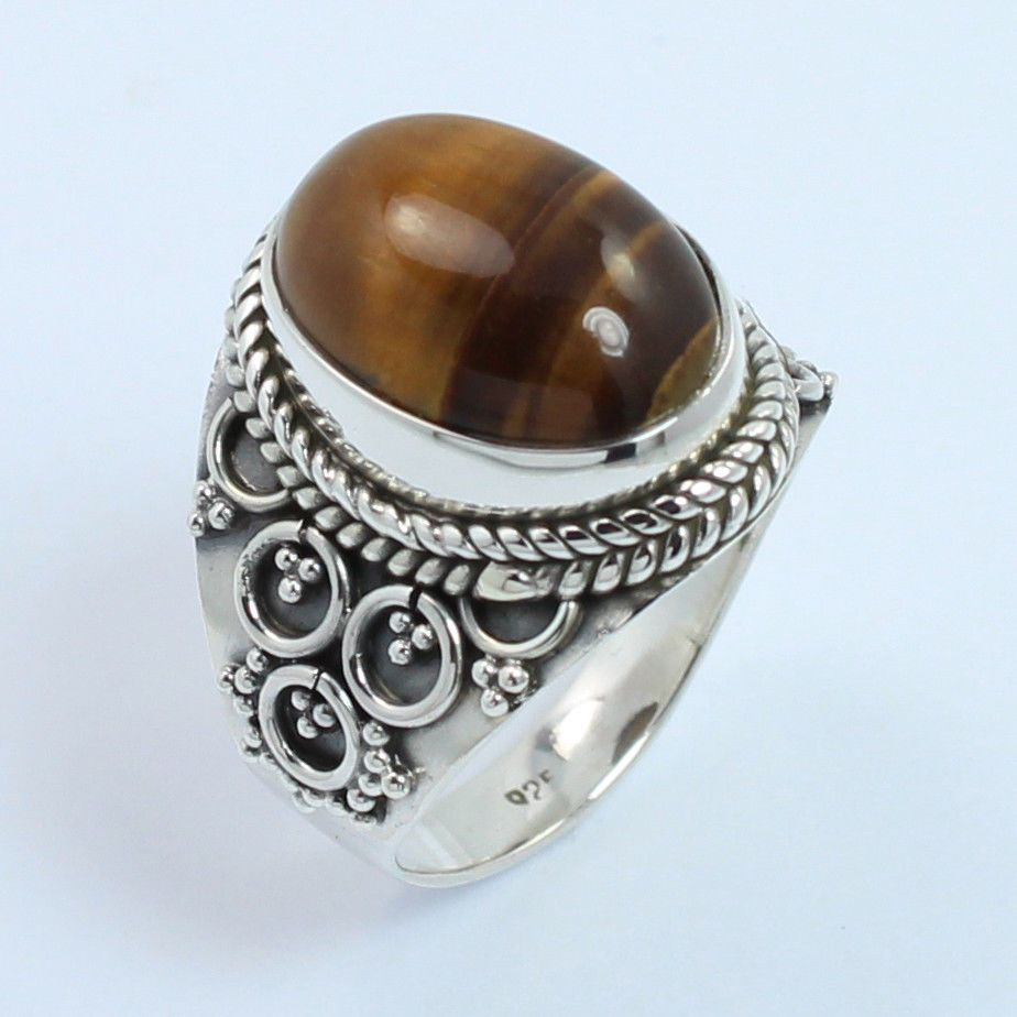 Vintage Style Ring Size US 6.5 Genuine TIGER'S EYE Gemstone 925 Sterling Silver #SunriseJewellers