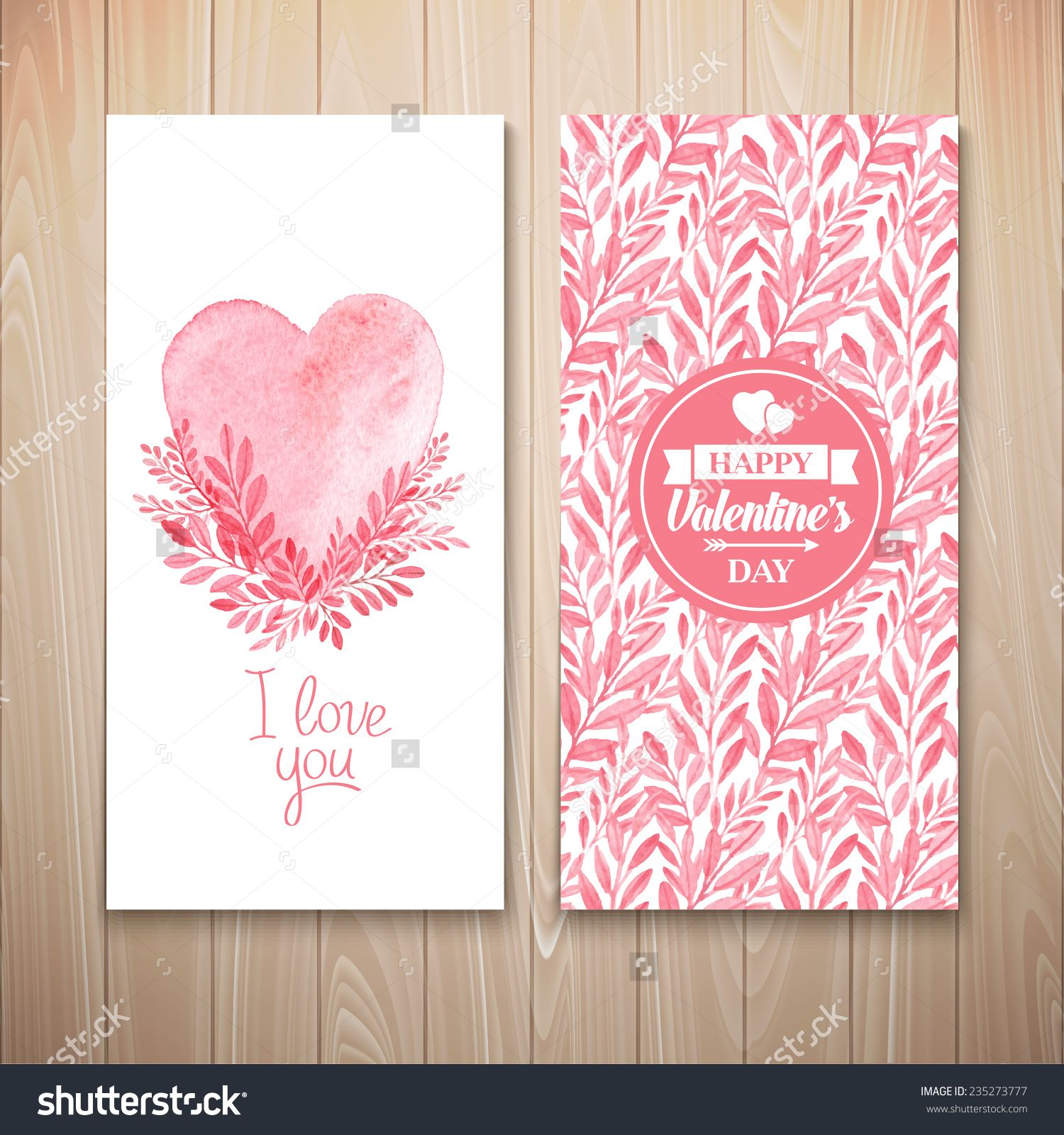 Vector Watercolor Postcard Valentine'S Day. Seamless Pattern - 235273777 : Shutterstock