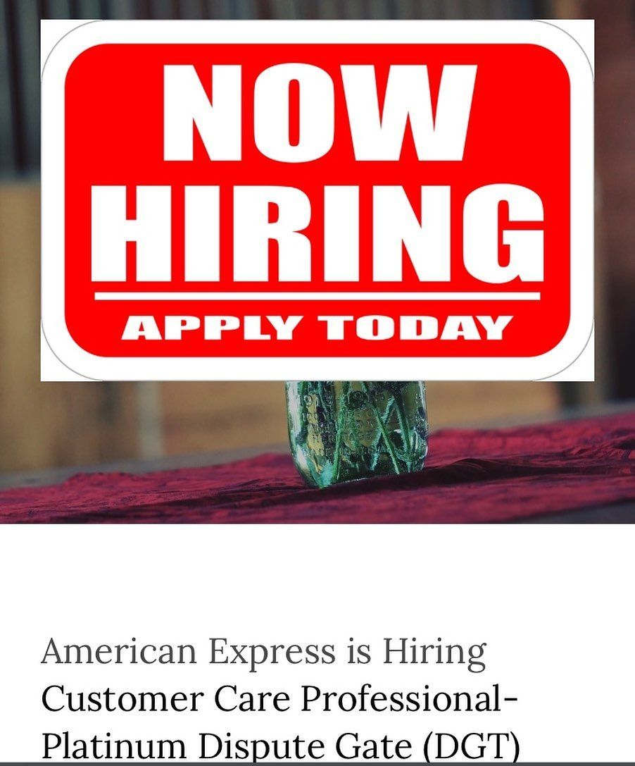 American Express Is Hiring Customer Care Professional Platinum