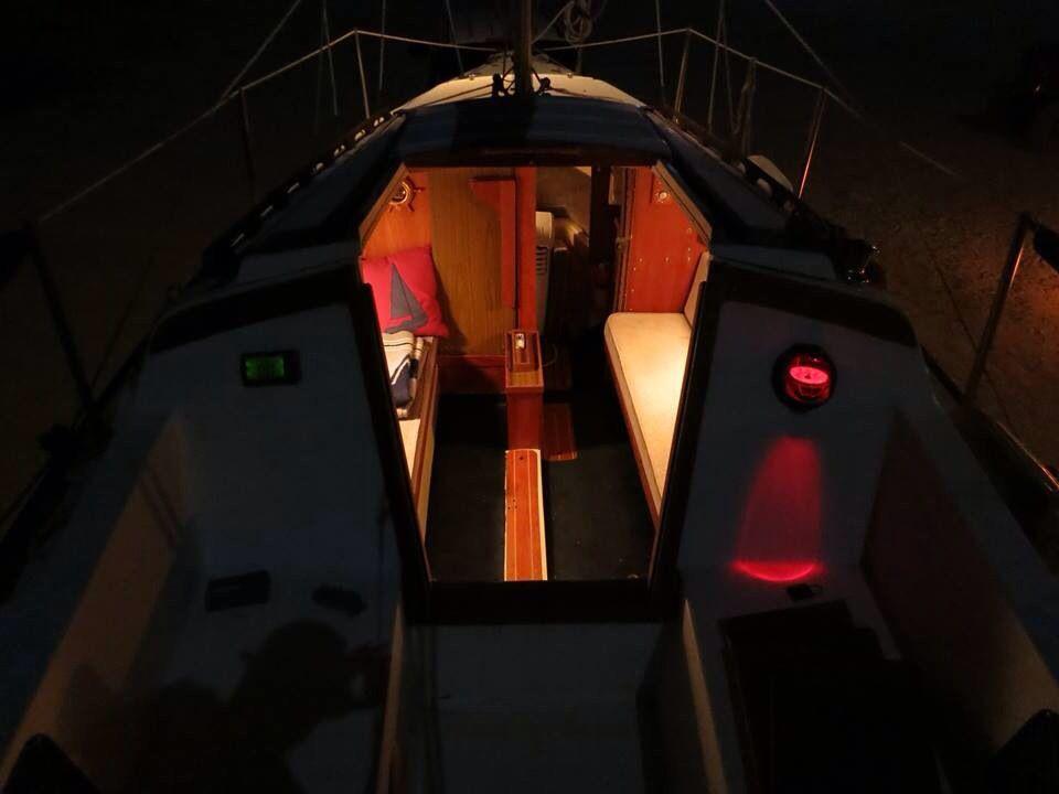 Inside The Catalina 25 Sailboat At Night Boating Holidays Sail Life Yacht Charter