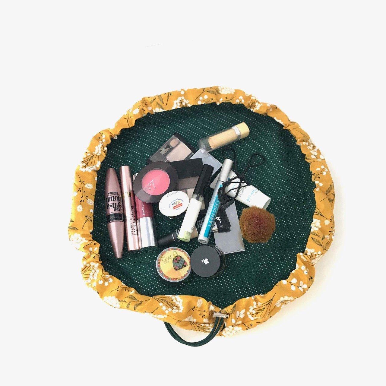 Boho Mustard Yellow Drawstring Makeup Bag, Washable Cinch