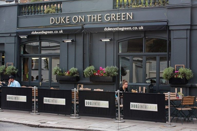 Duke On The Green Canvas Cafe Banners Cafe Duke Green Pub Posts Canvas Alfresco Colour Vinyl Cafe Seating Diy Outdoor Seating Booth Seating In Kitchen