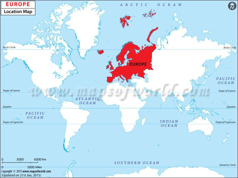 where is europe located in the world map europe is situated on the eastern end of the continent of eurasia it has coastlines along the arctic ocean in the