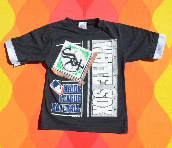 bca1c1766 vintage 90s t-shirt chicago WHITE SOX mlb baseball black ringer tee kids  Small